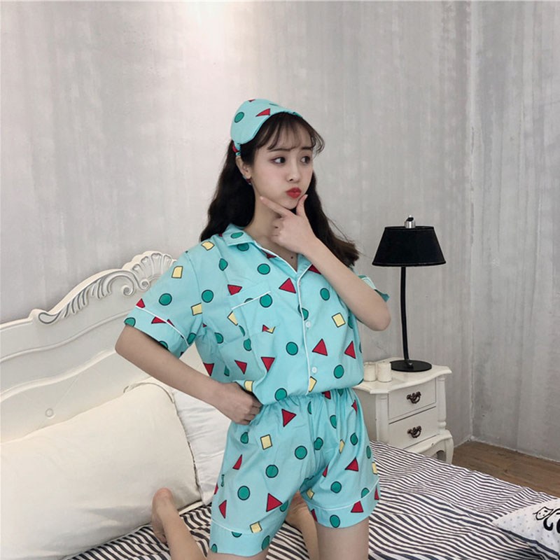 2019 Summer New Style Korean-style-style Cute Small Triangular Women's Sleepwear Set Comfortable Tracksuit Send Eye Patch