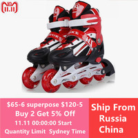 Kid's Roller Skates Shoes Athletic Roller Shoe for Children PU Material Skating Shoes All Wheels Flash L348OLF