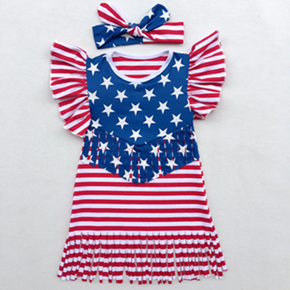 Fourth of July Girl Dress Children Girls Ameirican Patriotic Day Puff Sleeve Tassel Dresses Kids Clothing Todder Girls Dresses