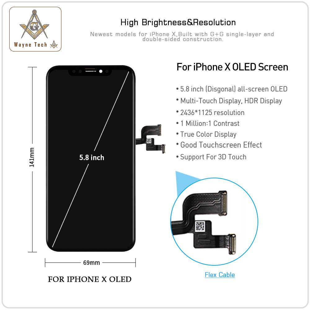 Chất Lượng Tuyệt Vời Thật Màn Hình OLED Không Chết Điểm Ảnh Cho iPhone X XR XS Màn Hình Cảm Ứng Bộ Số Hóa Tốt 3D Fess vận Chuyển