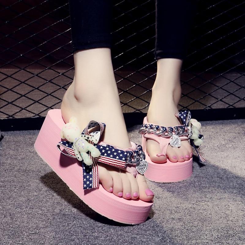 Platform Sandals Flip-Flops Beach-Slides Striped Summer Women Sapato Feminino Punk Cartoon