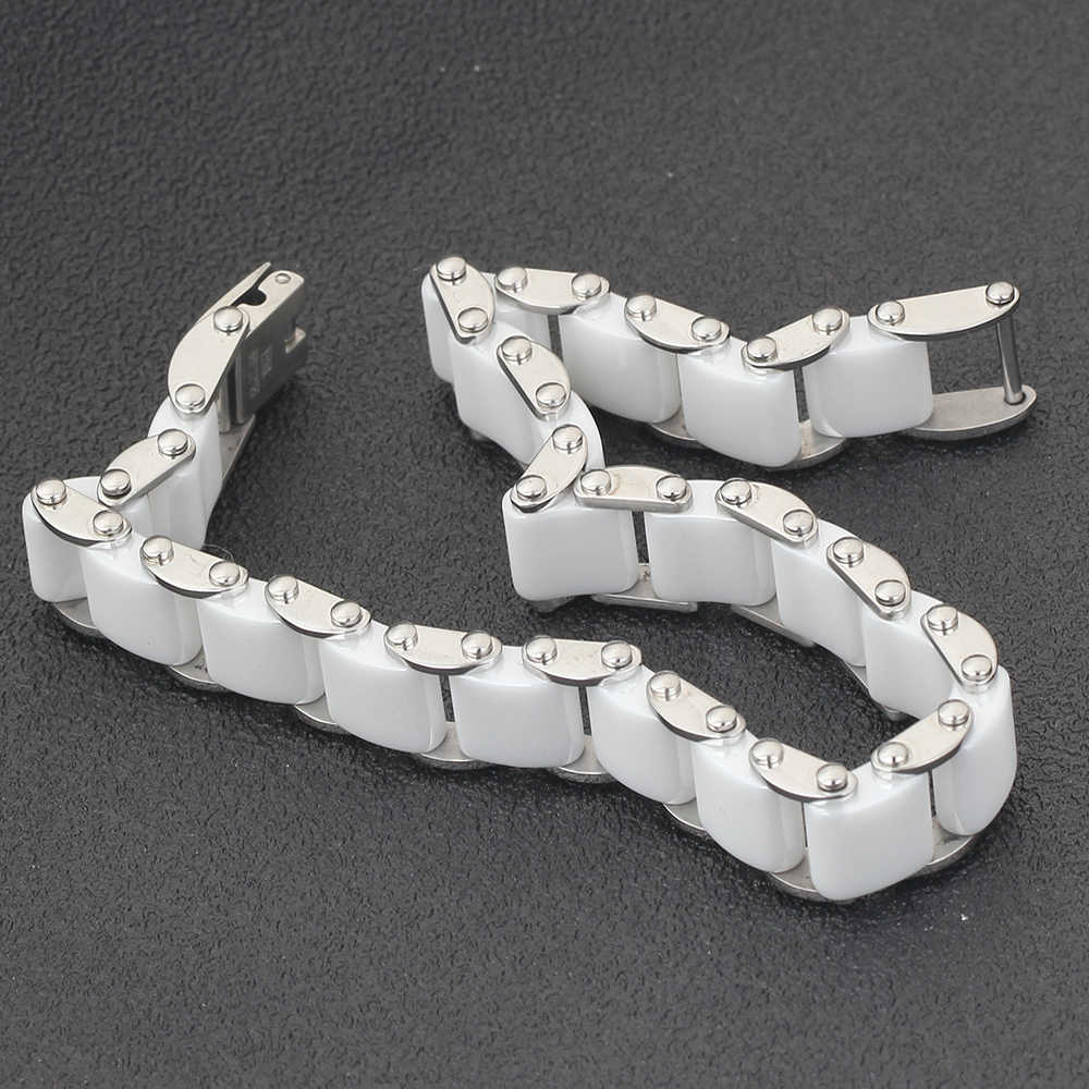 Di modo Bianco/Nero Ceramica Wrap Bracelet & Bangle Per Le Donne Degli Uomini 12mm di Larghezza In Acciaio Inox Braccialetto di Fascino