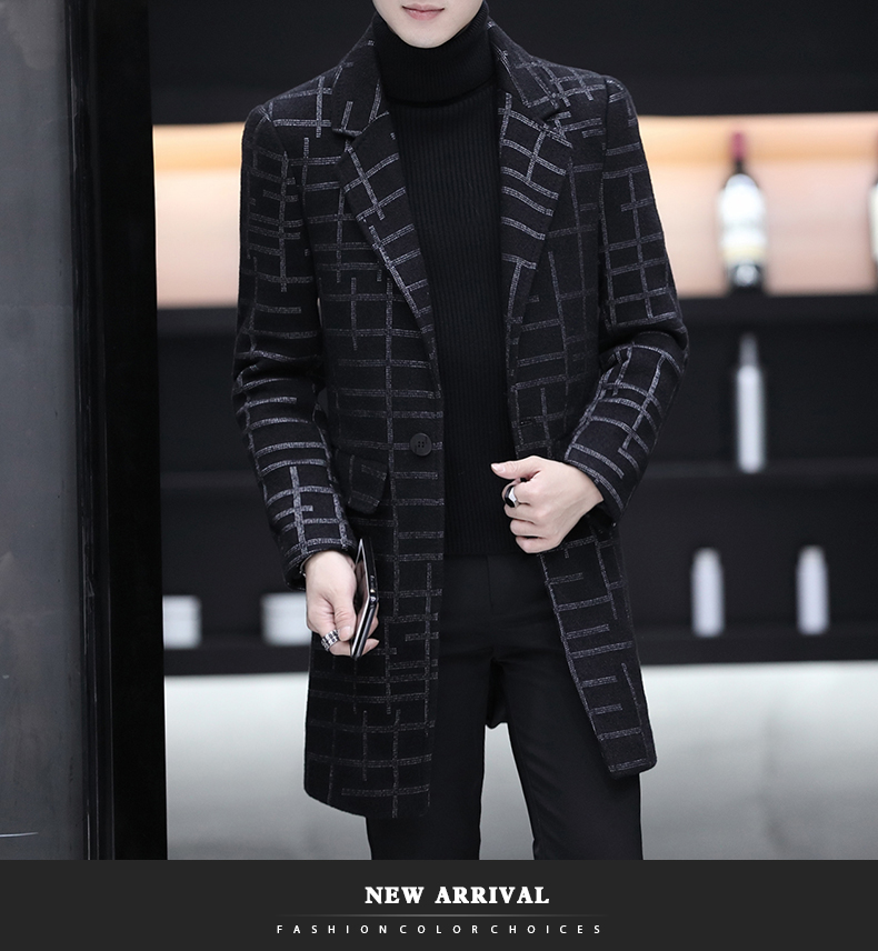 Men's Windbreaker New Spring And Autumn Winter Slim Wool Woolen Coat European And American Fashion High Quality Long Coat Male