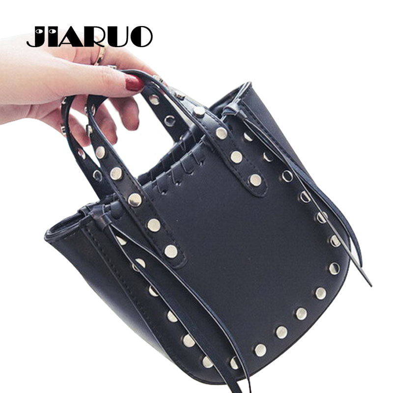 2017 Punk Rivet Women Leather Small Mini top-Handle Handbags Tote Bag Ladis Sling Shoulder Messenger Crossbody Cross body Bag