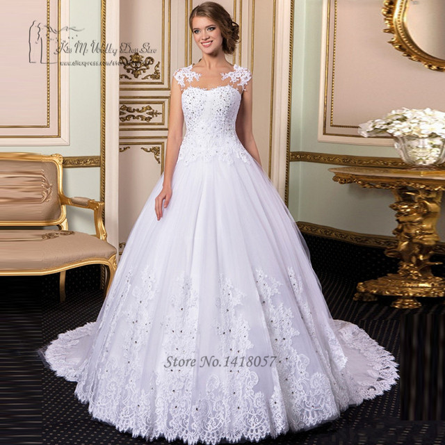 Gothic White Princess Wedding Dress Detachable Skirt Crystal Bride Dresses 2017 Lace Gowns Ball Gown