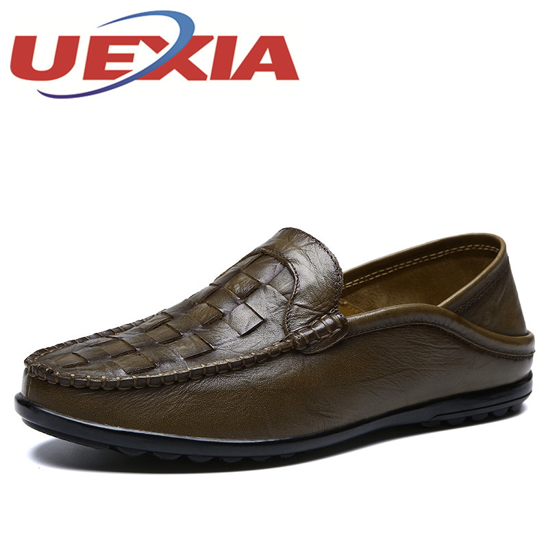 Men Casual Shoes Fashion Men Driving Shoes Soft Leather Mens Breathable Loafers Moccasins Slip On Men's Flats Loafers Male Shoes men s crocodile emboss leather penny loafers slip on boat shoes breathable driving shoes business casual velet loafers shoes men