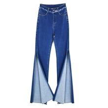 Split Skinny Jeans 2018 nuevo verano primavera alta cintura cremallera Fly  Flare Jeans mujeres azul Casual Stretchy borla Split . b4c080aa2432