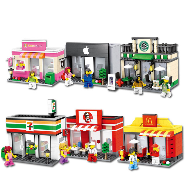 Mini City Street Toy Shop Retail Store 3D Model McDonald KFCE Cafe Apple Miniature Building Block for kid compatible legoings