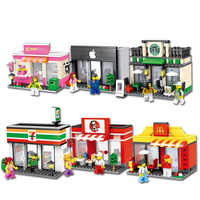 Mini City Street Toy Shop Retail Store 3D Model McDonald KFCE Cafe Apple Miniature Building Block for kid compatible