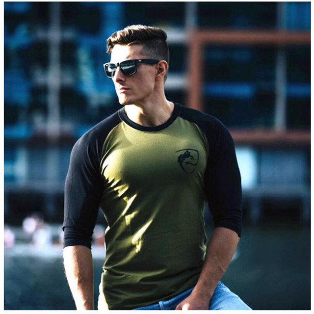 ALPHALETE New Men Three Quarter Sleeve T-shirts Cotton Gyms Fitness Workout Clothing Male Casual Fashion Brand Tees Tops