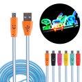 Durable luz led micro usb cable 1 m micro usb de datos del cargador Cable de sincronización para Samsung para el Teléfono Android de la Sonrisa Mini Cable USB
