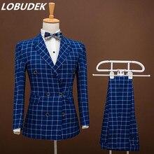 (Куртка + брюки) мужской синий костюм Блейзер костюм певица танцор показать Party DJ костюм Тонкий DS костюмы бар Пром жених свадьба