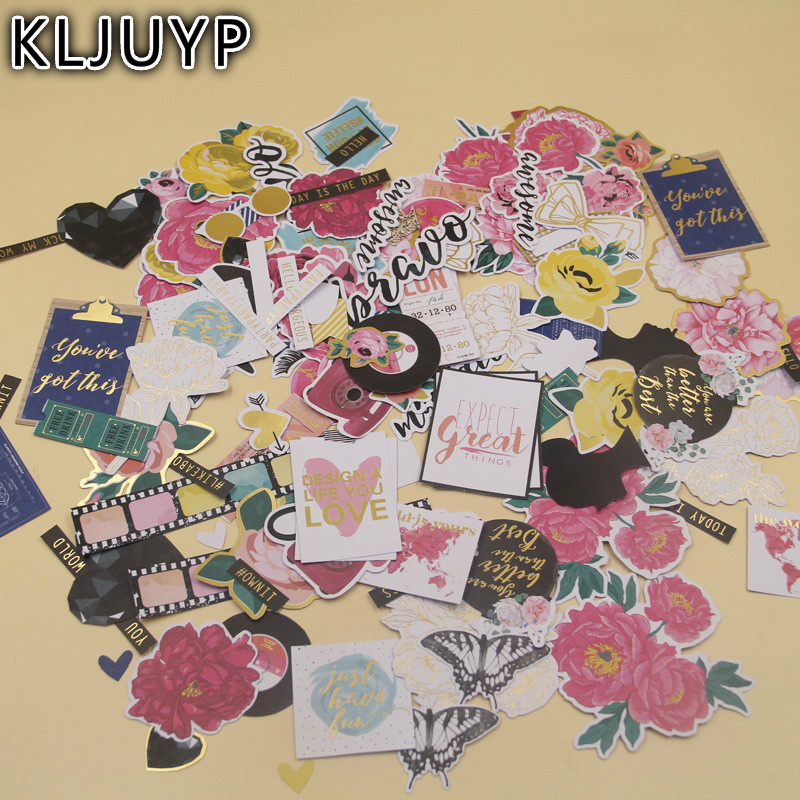 KLJUYP 136pcs Rose Flowers Cardstock Die Cuts for Scrapbooking Happy Planner/Card Making/Journaling Project
