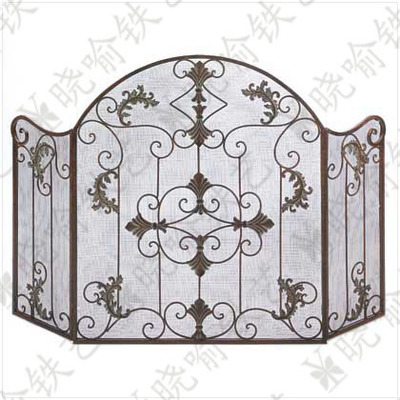 Wrought iron vertical mantel furnace circumference Fire screen Folding screen fireplace  ...