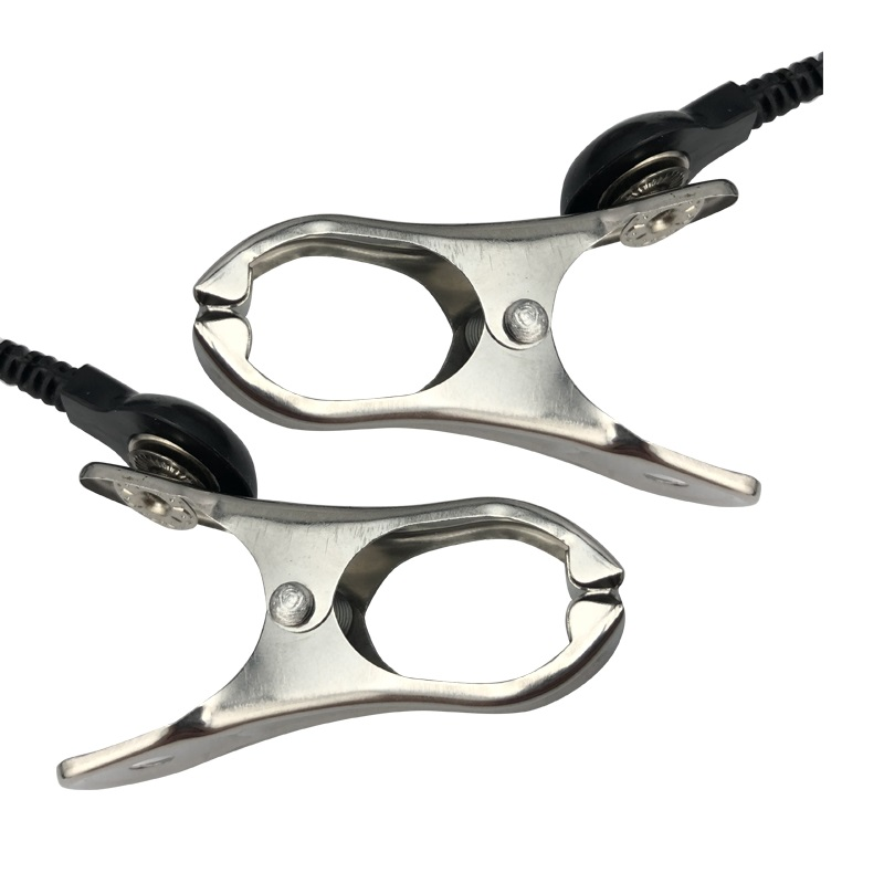 Image 2 - Electro shock nipple clamps clips breast BDSM Bondage Restraint Fetish penis lock electric medical Themed sex toy-in Vibrators from Beauty & Health