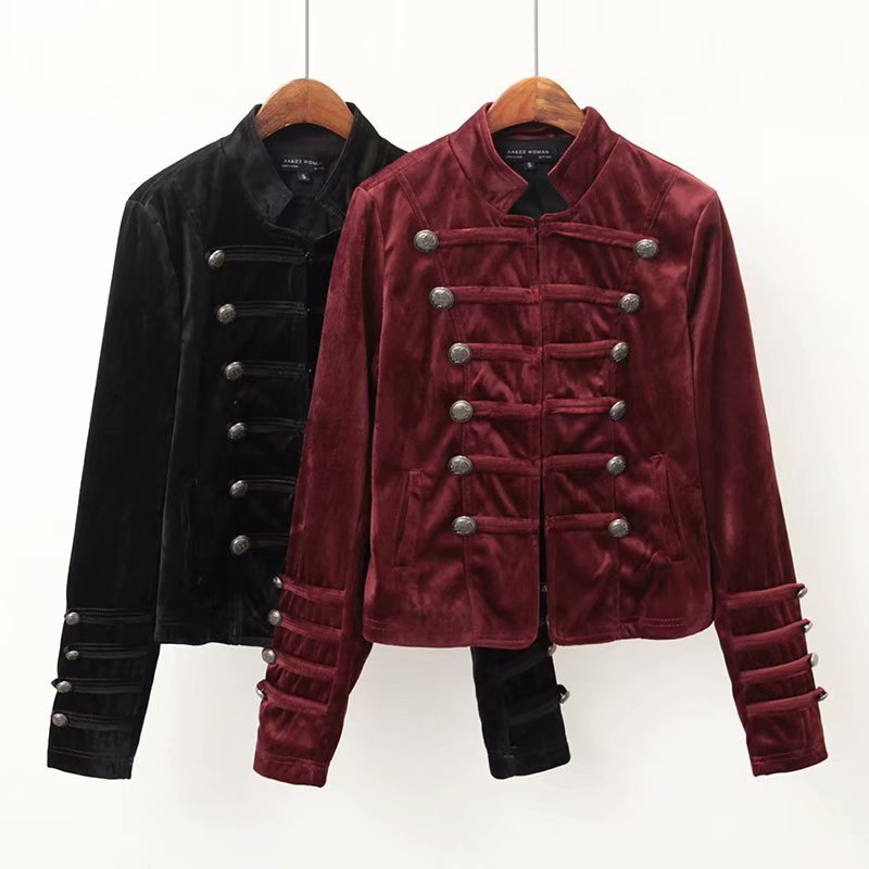 Coat women jacket black burgundy velvet jacket coat pockets button long sleeve outerwear vintage female casual streetwear
