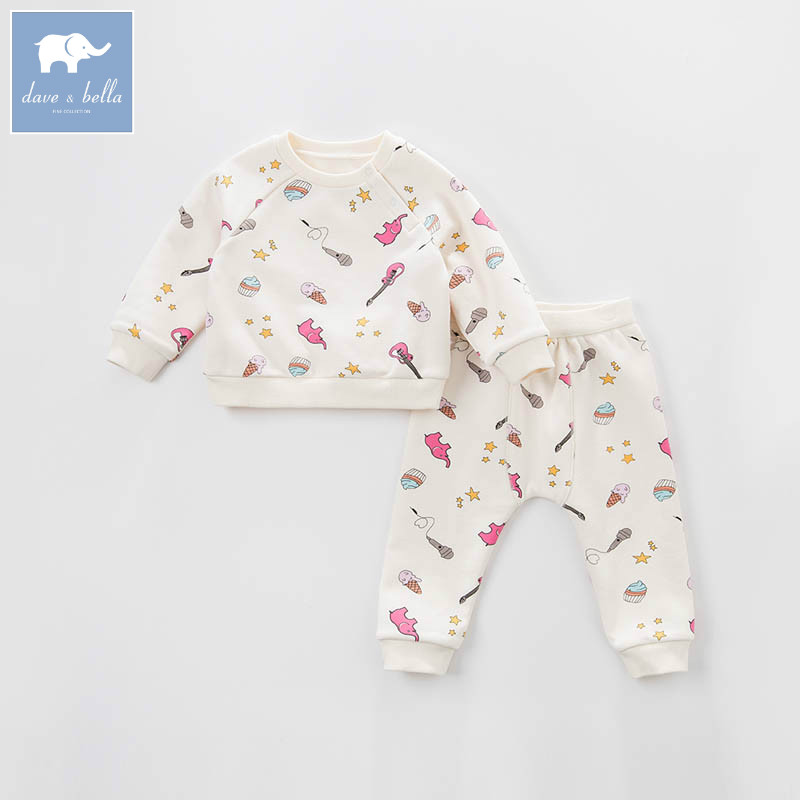 DB7021 dave bella spring baby girls clothing sets kids print suit children toddle outfits high quality clothes