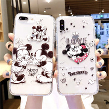 Mickey Minnie Phone case For iPhone X XS Max XR Cover Soft TPU Silicone Cartoon Cute cases For iPhone 7 8 6 6s Plus case цена