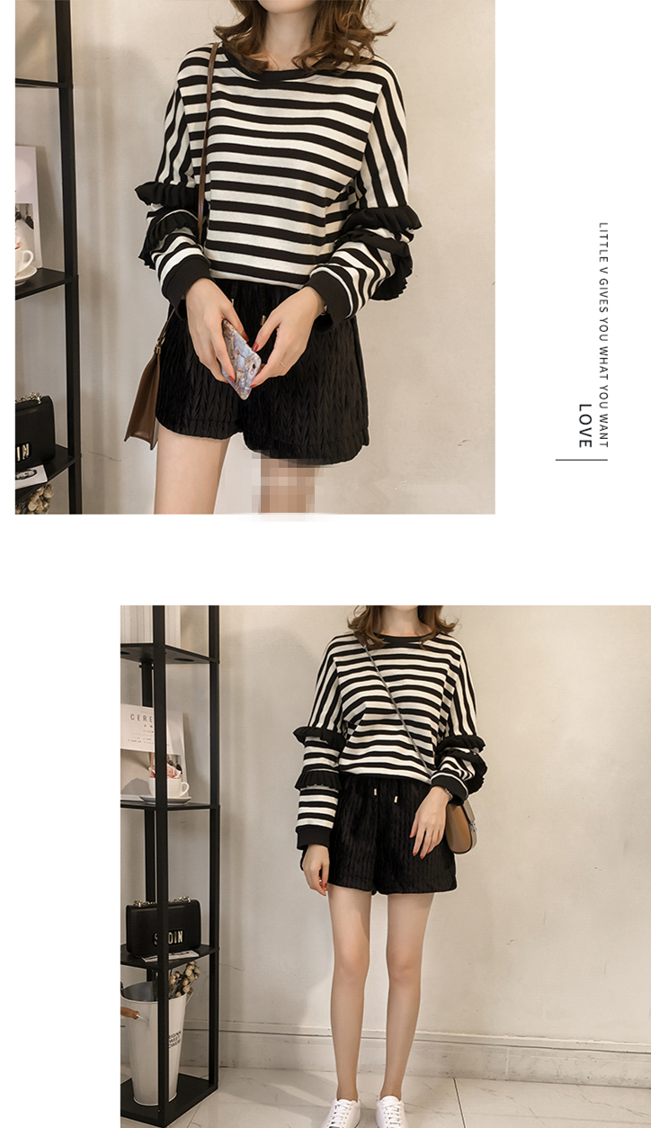 M-4xl Striped Sweatshirt Pullovers Women Plus Size Spring Autumn Ruffles Long Sleeve Tops Casual Harajuku Feminino White Green 13