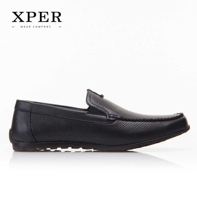 2017 XPER Merken Mode Mannen Flats Mannen Casual Instappers Blauw Mannen Loafers Ademende Comfor Big Size YWD86130BU/BL