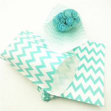 25pcs/set Bule Wavy Lines Stripes Paper Gift Bags Popcorn Party Food Bag Wedding Birthday Supplies Decoration