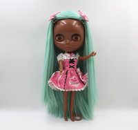 Blyth Doll Blygirl Light Green Straight Hair Deep Black Body Nude Doll Body 7 Joint Body