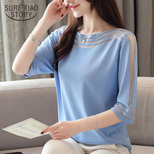 Blusas mujer de moda 2019 womens tops and blouses Short sleeve white blouse shirt shirts ladies tops Solid O-Neck 4431 50
