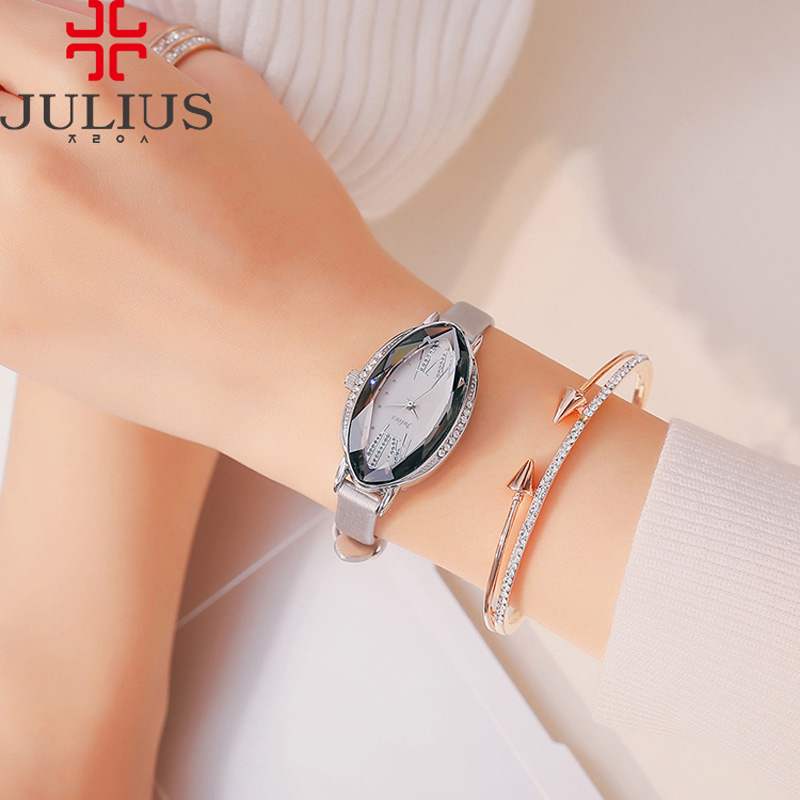 ФОТО Lady Women's Watch 5 Colors Japan Quartz Cutting Hours Best Fashion Dress Bracelet Leather Crystal Valentine Gift Julius Box