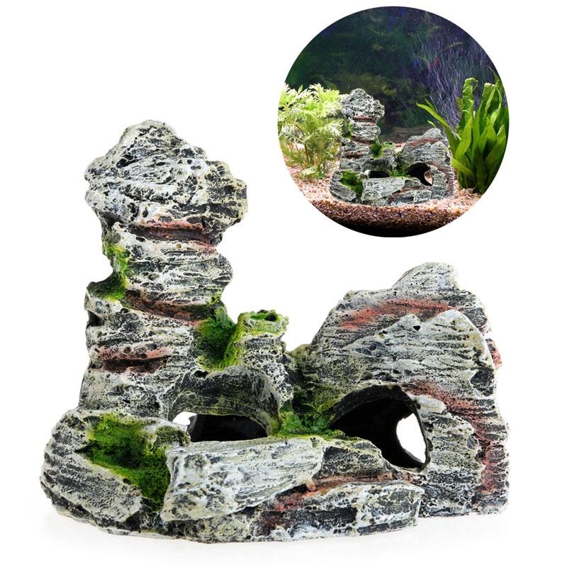 New 1pc Mountain View Aquarium Decoration Moss Tree House Resin Cave Fish Tank Ornament Decor Landscap Decorative