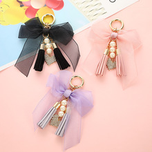 New Crystal bowknot Keychain Woman Tassel pearl Key Chain Bow Chain Tassel Key Ring Women Bag Car Pendant Jewelry Gifts trinket new fashion women heart rhinestone keychain pendant car key chain ring holder jewelry exquisite gifts m23
