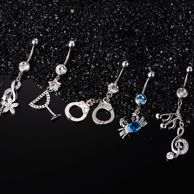 Us 4 99 Female Navel Rings Fashion Flower Music Glass Crab Handcuffs Body Jewelry Belly Button Rings Stainless Steel Lady Navel Rings On