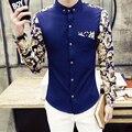 Бесплатная shippingcamisa masculina 2015 весна осень новых людей рубашки платья мода Корейских Slim fit случайный с длинными рукавами рубашки синий белый