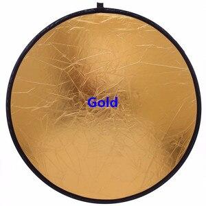 Image 2 - 60 cm/24 reflector 2 2 em 1 portátil dobrável difusor fotografia refletor de disco luz redonda refletor para estúdio foto câmera luz r