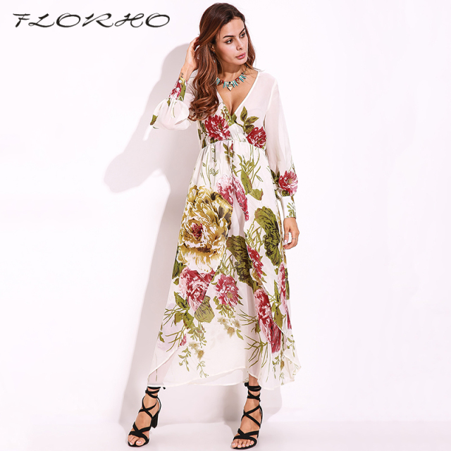 9d7eec66c16eb US $17.99 40% OFF|2018 Women Chiffon Maxi Long Dress Sheer Floral Party  Beach Sexy Long Sleeve Elegant Boho Shift Sundress Vestidos Plus Size  5XL-in ...