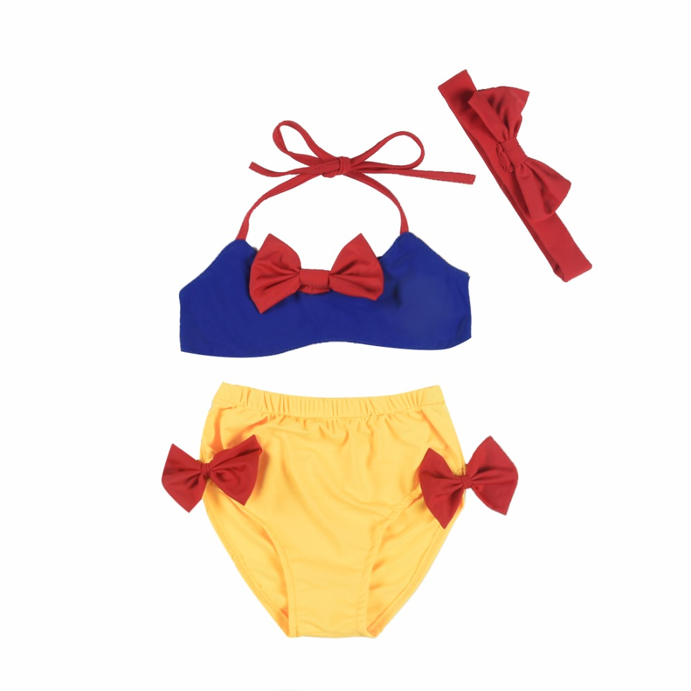 Mikrdoo princess Girls Bikini Baby Swimwear 3Pcs Summer kids Bathing Suit Toddler snow white bow Swimsuit headband Age 1-6 years