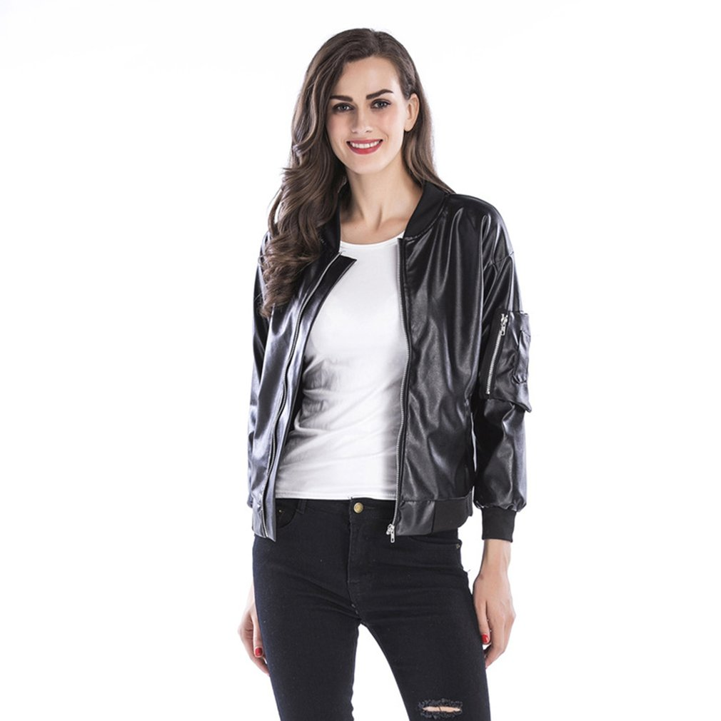 2018 Autumn Winter PU Leather Jacket Women Casual Classic Zipper Short Soft Lady Streetwear Coat Motorcycle Waterproof Coats 2