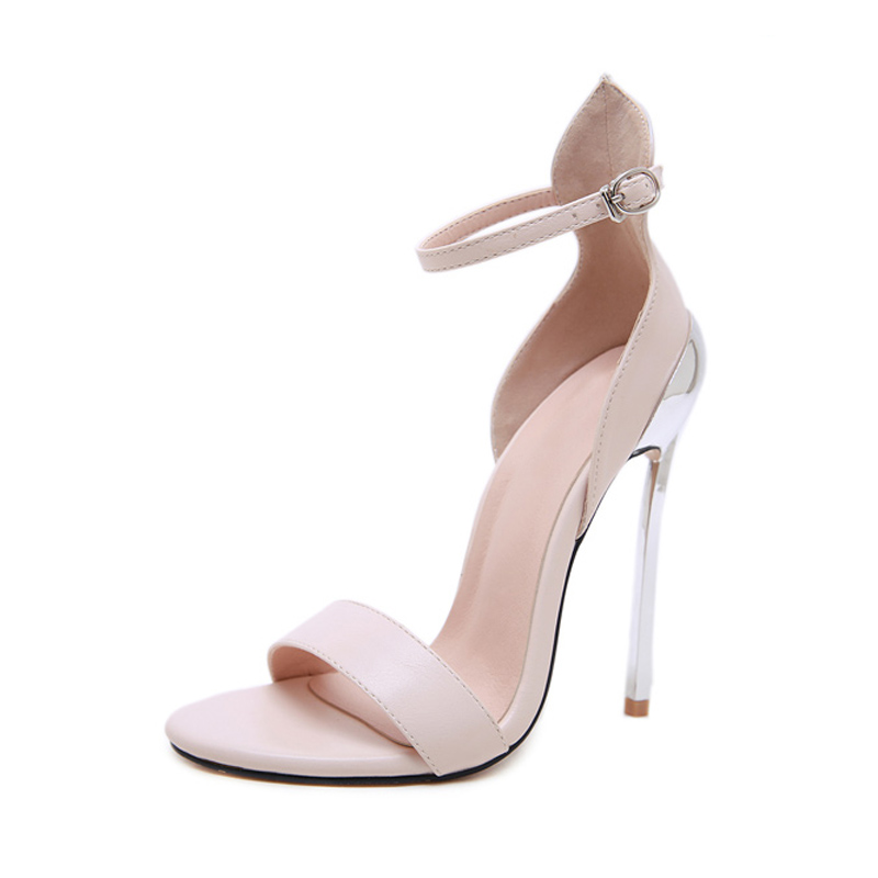 GBHHYNLH Classics Sexy Women nude Wedding Shoes Peep Toe Stiletto High Heels Shoes Woman Sandals Black Red Nude Big Size LJA791 in High Heels from Shoes