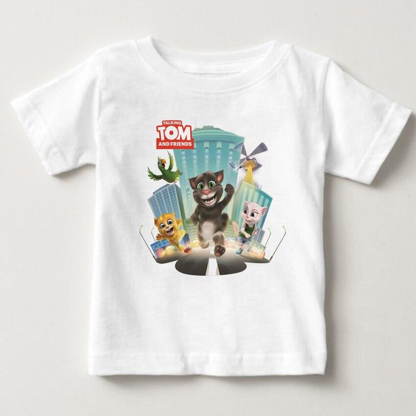 Cartoon printed children summer cotton T-shirt talking cat game boy/girl tops breathable comfort TShirt Funny Cartoon tops MJ 2