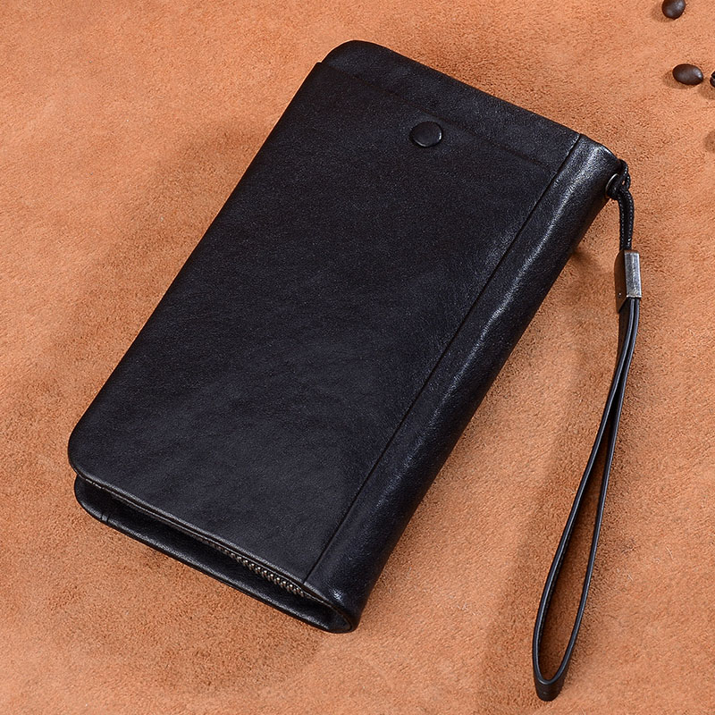 Difenise Genuine Leather Vintage Men Wallets Large Capacity Clutch Wallet Solid Cowhide Handmade Zipper Close Big Long Men Purse luxury genuine leather men wallets large capacity cowhide men clutch phone bag purse zipper vintage long wallet casual hand bags