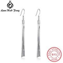 Genuine 925 Sterling Silver Tassel Dangle Earrings Women Metallic Long Earrings Party Jewelry Gift for Friends (Lam Hub Fong) цена