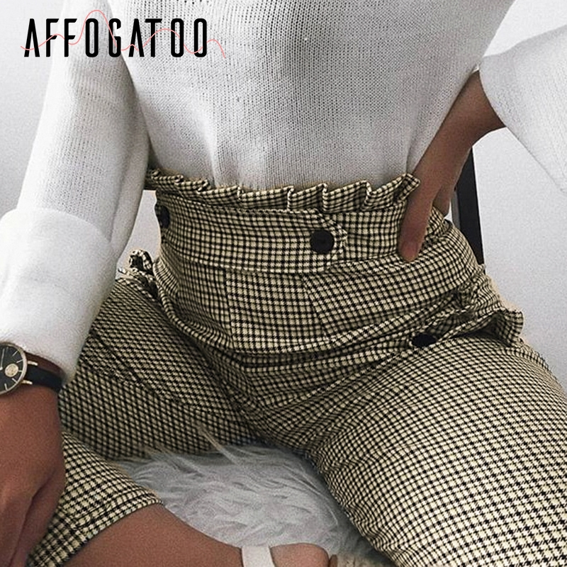 Affogatoo Casual Plaid high waist work   pants   women Ruffle zipper harem   pants     capris   female Vintage button ladies autumn trousers