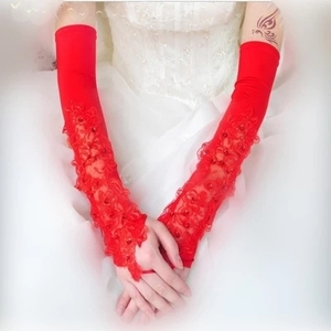 Image 3 - Long Wedding Gloves Lace Gloves Red Ultra Long Autumn And Winter Bridal Gloves Mittens White  G021