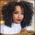 7а Glueless полный человеческих волос парики для чернокожих женщин бразильский виргинский человеческие волосы фронта парики афро странный вьющиеся парик