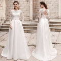 New Arrivals Long Sleeve Lace Appliques Key Hole Back A  Line White Ivory Beach Wedding Dress Formal Bride Gown Plus Size CGT169