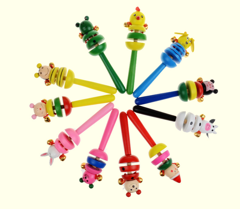 Baby Rattles Hand Trembling Bells Colorful Awake Non-toxic Wood Animal Smiling Face Toy for Kids Child