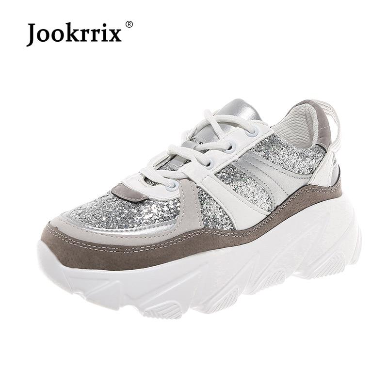 Jookrrix 2019 Femmes Glitter Chaussures Pour Femmes Liquidation Dame Sneaker Maille Augmentée 5 cm Chaussures Femme Mesdames Chaussures zapatos mujer