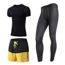Yuerlian 3 Pcs Quick Dry Men'S Sport Suit Compression Tracksuit Fitness Tight T-Shirt Gym Running Leggings Demix Mans Sportswear