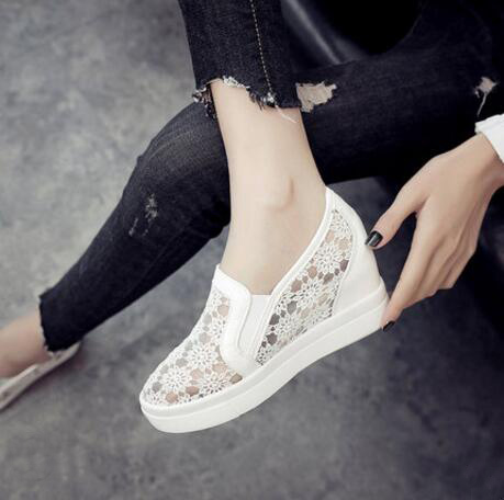 2018 New Fashion Womens Shoes Casual Wedges Mesh Shoe Slip On Lady aa0773 buckle slip on wedges