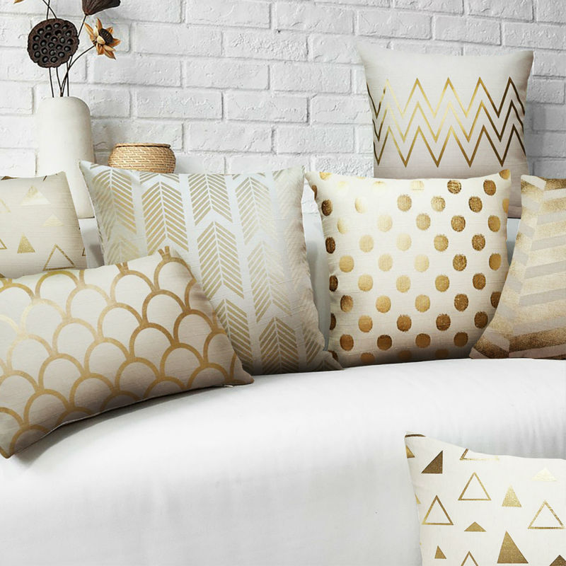 Gold Solid Linen Pillow Gold Shams Matelic CushionNo Inner