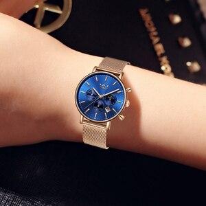 Image 4 - Lige 탑 브랜드 패션 럭셔리 로즈 골드 블루 손목 시계 캐주얼 패션 여성 시계 쿼츠 시계 선물 시계 여성 montre femme